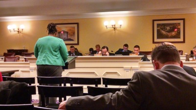 Testifying before the Ohio House of Representatives Finance Committee about their proposal to end independent provider nursing, March 2015